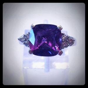 10KWG Purple Sapphire & Diamond Ring
